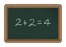 Pizarra: 2+2=4 fotografía de archivo