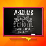 Pizarra brillante de la escuela con el saludo para la recepción Fotografía de archivo