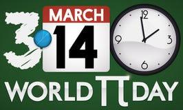 Pizarra, calendario y reloj promoviendo el día del mundo pi, ejemplo del vector libre illustration