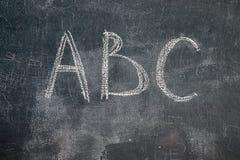 Pizarra con ABC Fotos de archivo libres de regalías