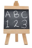 Pizarra con el ABC de las letras y los 123 Foto de archivo libre de regalías