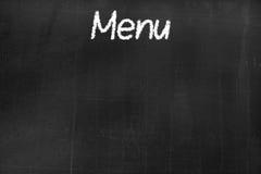 Pizarra con el ` del menú del ` del texto Imagen de archivo libre de regalías