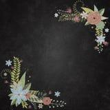 Pizarra con el fondo con las fronteras florales Imágenes de archivo libres de regalías