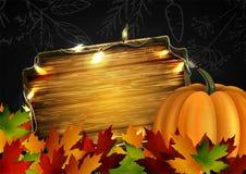Pizarra con las hojas y las calabazas de otoño ilustración del vector