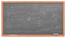 Pizarra con matemáticas Fotografía de archivo