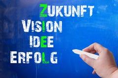 Pizarra con un concepto para la blanco, la visión, las ideas y el éxito Foto de archivo