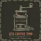 Pizarra de Brown con el molino de café y el texto, vector Foto de archivo libre de regalías