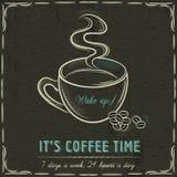 Pizarra de Brown con una taza de café y de texto calientes Fotos de archivo libres de regalías