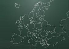 Pizarra de la carta de Europa Imagen de archivo