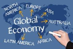 Pizarra de la economía global Imagen de archivo libre de regalías