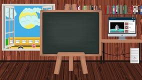 Pizarra de la historieta en una sala de clase de los niños con un autobús escolar