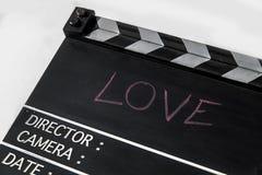 Pizarra de la película de historia de amor Fotografía de archivo libre de regalías