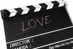 Pizarra de la película de historia de amor Imagenes de archivo