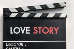 Pizarra de la película de historia de amor Fotos de archivo libres de regalías