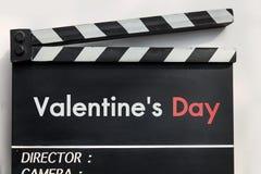 Pizarra de la película de historia de amor Foto de archivo