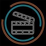 Pizarra de la película - icono del botón de reproducción del clip del vector stock de ilustración