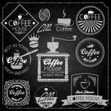 Pizarra de los elementos del sistema de café Fotos de archivo