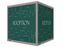Pizarra del cubo del concepto 3D de la nube de la palabra de la adopción Foto de archivo libre de regalías