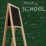 Pizarra del escaparate de nuevo a escuela Foto de archivo libre de regalías