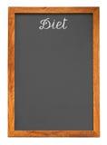Pizarra del menú para la lista del alimento de la dieta Foto de archivo libre de regalías