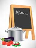 Pizarra del menú y crisol el cocinar Imagen de archivo libre de regalías