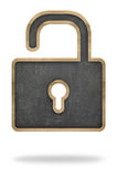 Pizarra del negro de la forma del candado Foto de archivo libre de regalías