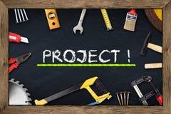 Pizarra del proyecto de las herramientas foto de archivo