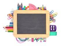 Pizarra en blanco con el marco de las fuentes de escuela sobre blanco imagen de archivo