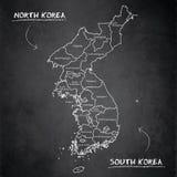 Pizarra individual de la pizarra de la tarjeta de los nombres separados de la región del mapa de Corea del norte y sur ilustración del vector