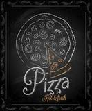 Pizarra - menú de la pizza del marco Imagenes de archivo
