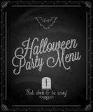 Pizarra - menú de Halloween del marco Foto de archivo