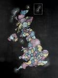 Pizarra o pizarra con U K Mapa con los condados Imágenes de archivo libres de regalías