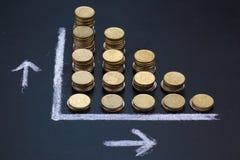 Pizarra que muestra una disminución con las monedas Imagen de archivo libre de regalías