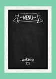Pizarra vertical del menú para los cafés y los restaurantes Foto de archivo libre de regalías