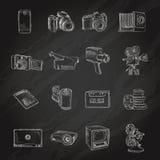 Pizarra video de los iconos de la foto Fotos de archivo