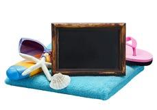 Pizarra y accesorios para la playa Foto de archivo