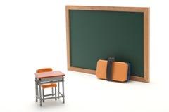 Pizarra y escritorio miniatura de la escuela en el fondo blanco Fotos de archivo