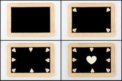 Pizarras del vintage con el marco de madera aislado en blanco fotos de archivo