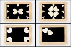 Pizarras del vintage con el marco de madera aislado en blanco fotos de archivo libres de regalías