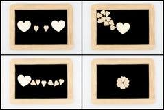 Pizarras del vintage con el marco de madera aislado en blanco fotografía de archivo libre de regalías