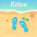 Pizarras, estrellas de mar y gafas de sol por el mar abertura de la estación de verano Relájese en la playa Ilustración del vecto Foto de archivo