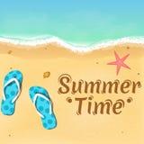 Pizarras, una estrella de mar y un texto hermoso en la playa abertura de la estación de verano Relájese en la playa Ilustración d Fotos de archivo libres de regalías