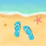 Pizarras y estrellas de mar en la playa abertura de la estación de verano Relájese en la playa Ilustración del vector Foto de archivo
