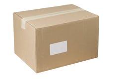 Pizca cerrada y Empty tag de la caja de cartón del envío Imágenes de archivo libres de regalías