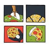Pizz ikony, plakaty, wizerunki ustawiający Fotografia Stock