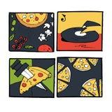 Pizz ikony, plakaty, wizerunki ustawiający Zdjęcie Royalty Free