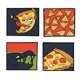 Pizz ikony, plakaty, wizerunki ustawiający Obraz Royalty Free