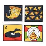 Pizz ikony, plakaty, wizerunki ustawiający Zdjęcie Stock
