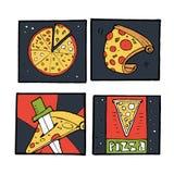 Pizz ikony, plakaty, wizerunki ustawiający Obrazy Royalty Free