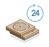Pizz pudełka z zegarem na białym tle Obraz Royalty Free